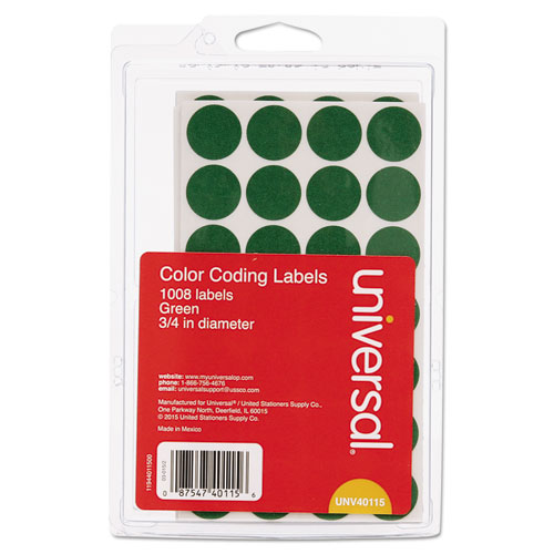 Self-Adhesive Removable Color-Coding Labels, 0.75 dia., Green, 28/Sheet, 36 Sheets/Pack