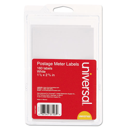 Self-Adhesive Postage Meter Labels, 2.75 x 1.5 - 5.5 x 1.5, White, 4/Sheet, 40 Sheets/Pack
