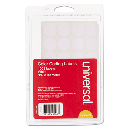 Self-Adhesive Removable Color-Coding Labels, 0.75 dia., White, 28/Sheet, 36 Sheets/Pack