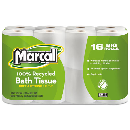 100 Recycled Two-Ply Bath Tissue, Septic Safe, White, 168 Sheets/Roll, 96 Rolls/Carton