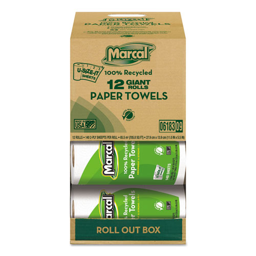100 Recycled Roll Towels, 2-Ply, 5 1/2 x 11, 140 Sheets, 12 Rolls/Carton
