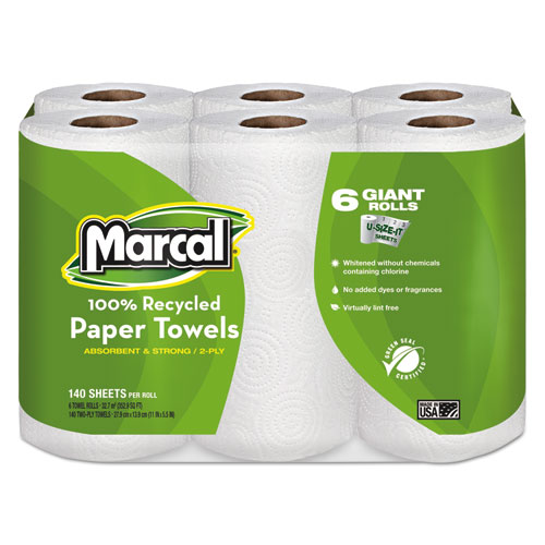 100% Recycled Roll Towels, 2-Ply, 5 1/2 x 11, 140/Roll, 6 Rolls/Pack | by Plexsupply