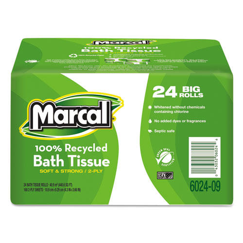 100 Recycled  Bundle Two-Ply Bath Tissue Roll, Septic Safe, White, 168 Sheets/Roll, 24 Rolls/Carton