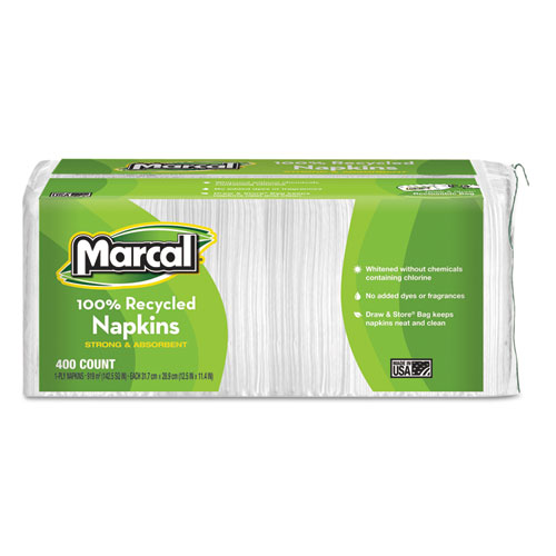 100% Recycled Lunch Napkins, 1-Ply, 11.4 x 12.5, White, 400/Pack | by Plexsupply