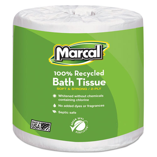 100 Recycled Two-Ply Bath Tissue, Septic Safe, White, 330 Sheets/Roll, 48 Rolls/Carton