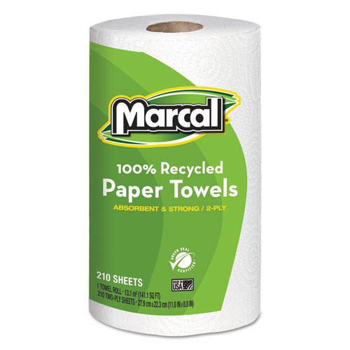 100 Recycled Roll Towels, 2-Ply, 8.8 x 11, 210 Sheets, 12 Rolls/Carton