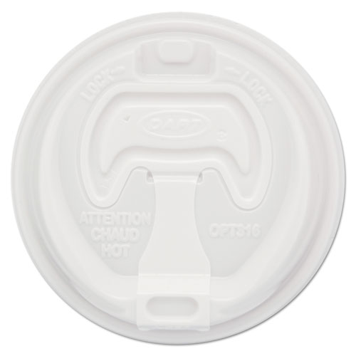 Optima Reclosable Lids for Paper Hot Cups for 10-24 oz Cups, White, 1000/Carton OPT316