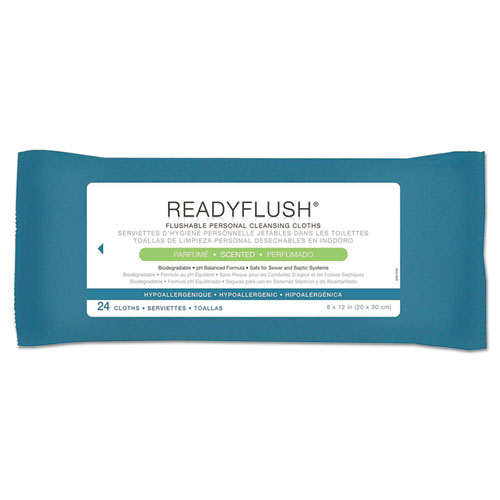 ReadyFlush Biodegradable Flushable Wipes, 8 x 12, 24/Pack