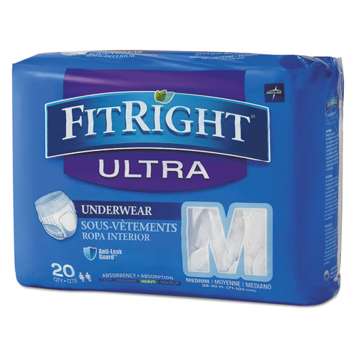 FitRight Ultra Protective Underwear, Medium, 28 to 40 Waist, 20/Pack