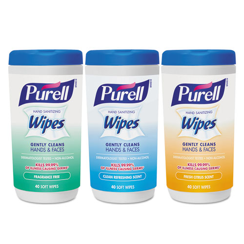 Hand Sanitizing Wipes, 5.7 x 7 1/2, Assorted, 40/Canister, 18/Carton 912103EC