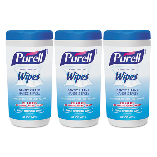 PURELL® Hand Sanitizing Wipes, 5.7 x 7 1/2, Clean Refreshing Scent, 40/Canister,18/Ctn