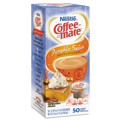 Liquid Coffee Creamer, Pumpkin Spice, 0.375 oz Mini Cups, 50/Box, 4 Box/Carton 75520CT