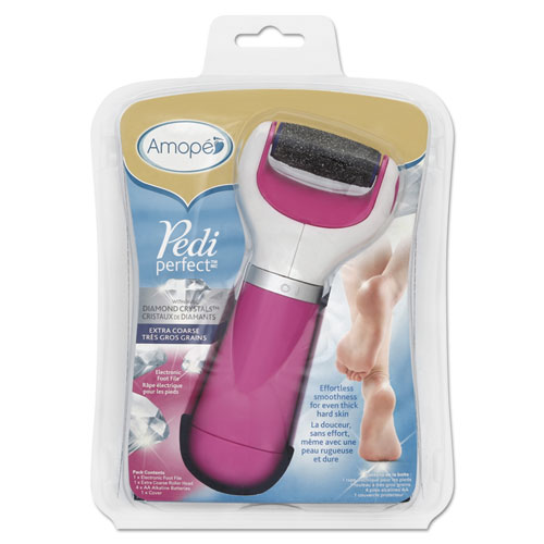 Pedi Perfect Extra Coarse Electronic Foot File, Pink/White, 6/Carton