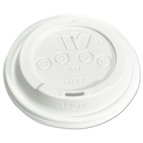 Plastic Lids for 12,16,20,24 oz Foam Cups, Sip-Thru, ID, White, 1000/Carton DL18
