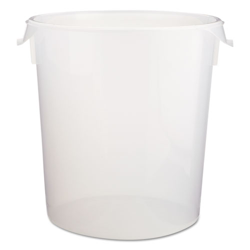 Round Storage Containers, Clear, 22qt, 13 1/8Dia x 14H, Polypropylene,6/Crtn