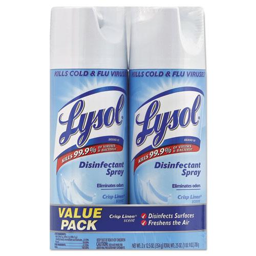 Disinfectant Spray, Crisp Linen, 12.5 oz Aerosol, 2/Pack, 6 Pack/Carton