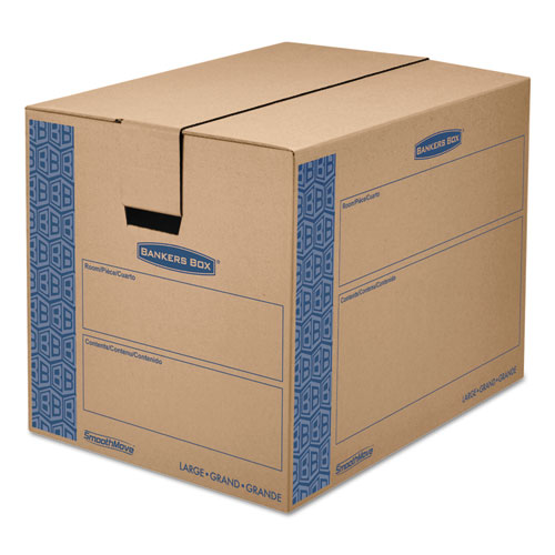 SmoothMove Prime Moving  Storage Boxes, Regular Slotted Container (RSC), 24 x 18 x 18, Brown Kraft/Blue, 6/Carton