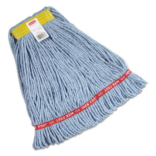 "Web Foot Wet Mops, Cotton/Synthetic, Blue, Small, 1"" Yellow Headband, 6/Carton"
