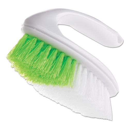 Iron Handle Brush, 5 3/4 Brush, 1 1/4 Bristles, White/Green, 4/Box