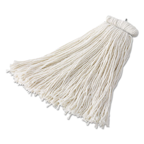 Bolt-On Cut-End Mop Head, Rayon, 24 oz, White, 6/Carton