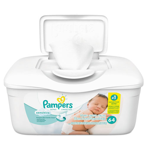 Pampers® Sensitive Baby Wipes, White, Cotton, Unscented, 64/Tub