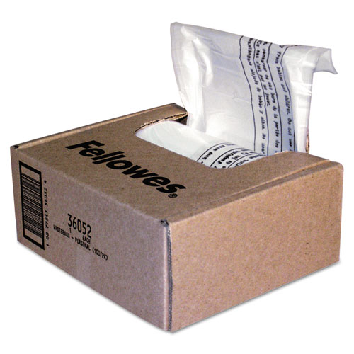 Shredder Waste Bags, 6-7 gal Capacity, 100/Carton | by Plexsupply