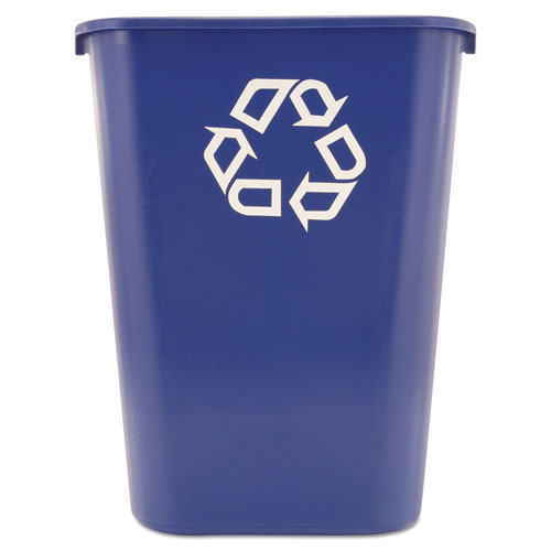 Large Deskside Recycle Container with Symbol, Rectangular, Plastic, 41.25 qt, Blue | by Plexsupply