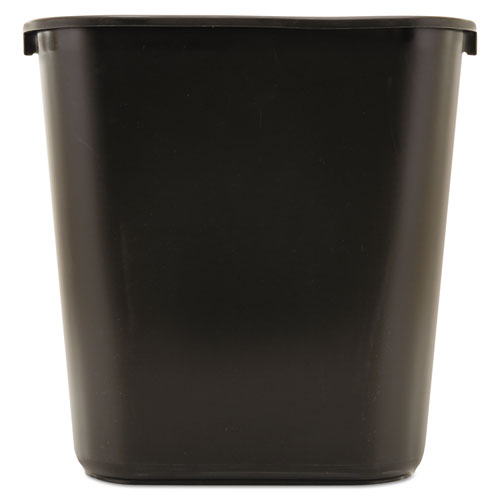 Deskside Plastic Wastebasket, Rectangular, 7 gal, Black | by Plexsupply