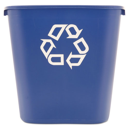 Medium Deskside Recycling Container, Rectangular, Plastic, 28.13 qt, Blue | by Plexsupply