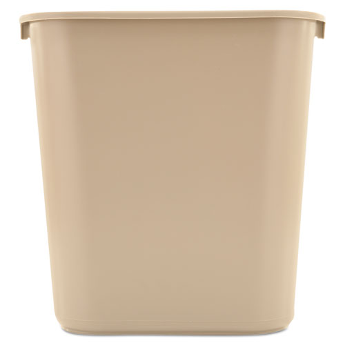 Deskside Plastic Wastebasket, Rectangular, 7 gal, Beige | by Plexsupply