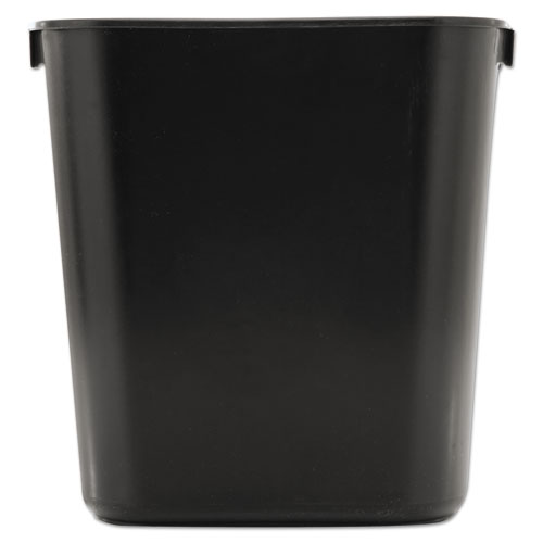 Deskside Plastic Wastebasket, Rectangular, 3.5 gal, Black | by Plexsupply