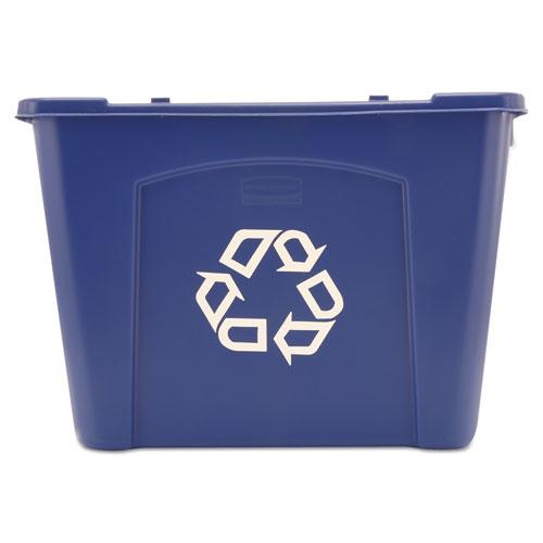 Stacking Recycle Bin, Rectangular, Polyethylene, 14 gal, Blue