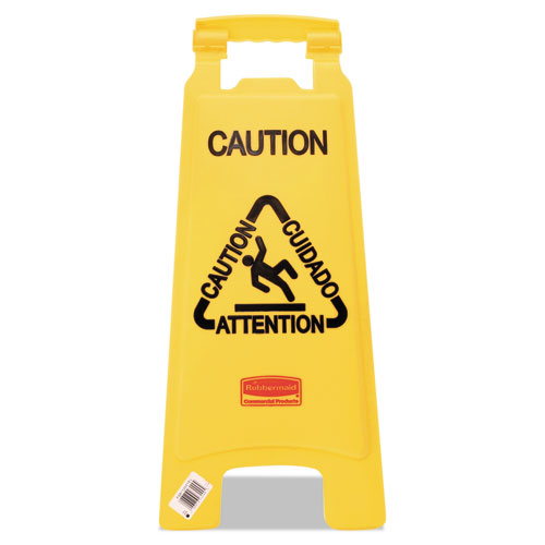 "Rubbermaid® Commercial Multilingual ""Caution"" Floor Sign, Plastic, 11 x 12 x 25, Bright Yellow"