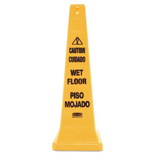 Multilingual Wet Floor Safety Cone, 12.25 x 12.25 x 36