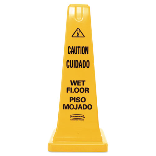 Four-Sided Caution, Wet Floor Safety Cone, 10 1/2w x 10 1/2d x 25 5/8h, Yellow
