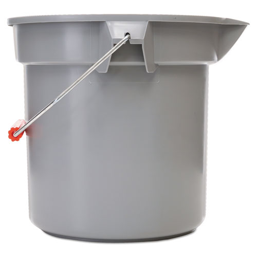 14 Quart Round Utility Bucket, 12 Diameter x 11 1/4h, Gray Plastic