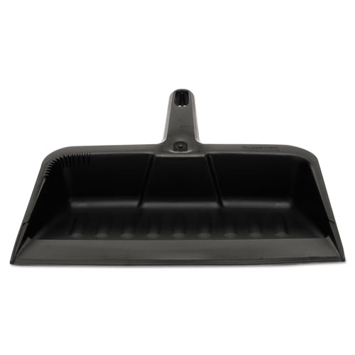 "Heavy-Duty Dustpan, 8 1/4"" w, Polypropylene, Charcoal 