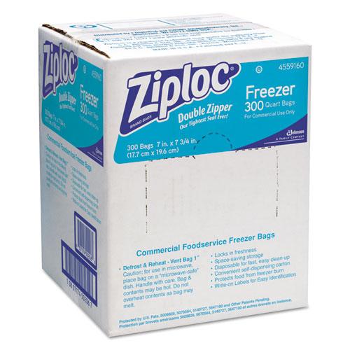 Ziploc® Double Zipper Freezer Bags, 1qt, 2.7mil, 7 x 7 3/4, Clear w/Label, 300/Carton