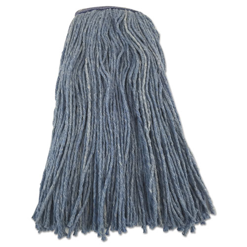 "Boardwalk® Cut-End Wet Mop Head, 16 oz, Blue, 1.3"" Headband"