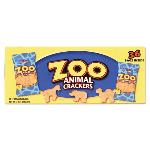 Austin® Zoo Animal Crackers, Original, 2oz Pack, 80/Carton