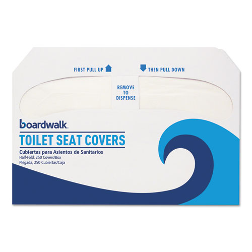 Boardwalk® Premium Half-Fold Toilet Seat Covers, 250 Covers/Sleeve, 4 Sleeves/Carton