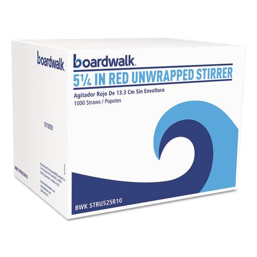 """Single-Tube Stir-Straws,5.25"""", Polypropylene, Red, 1,000/Pack, 10 Packs/Carton"""