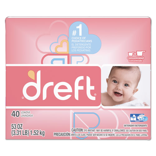 Dreft® Ultra Laundry Detergent, Powder, Baby Powder Scent, 53 oz Box