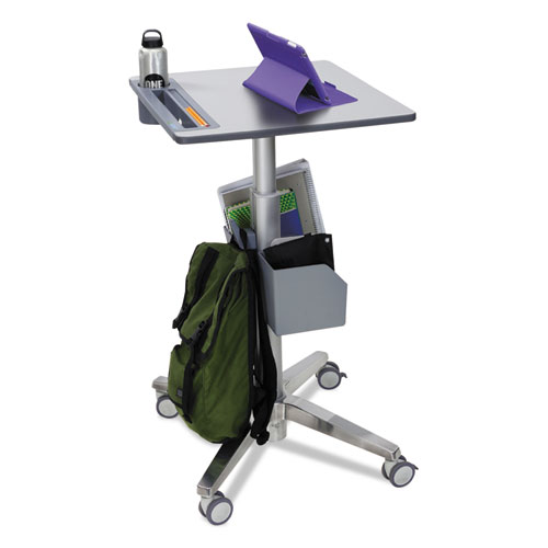 LearnFit Adjustable Stand-Up Desk, 24w x 22d x 33.25h to 49.25h, White/Silver | by Plexsupply