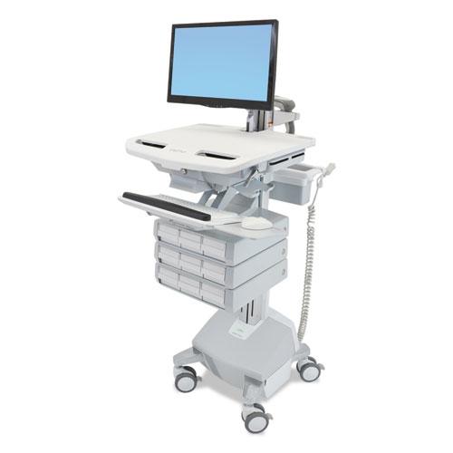 Ergotron® Styleview Life Powered Cart w/LCD Arm, 9 Drawer, 22.5 x 31 x 50.5-62, White/Gray