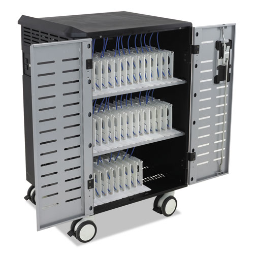 Ergotron® Zip40 Charging and Mgmt Cart for 30-40 Devices, 30.3 x 26.1 x 45.4, Black/Silver