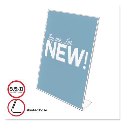 Classic Image Slanted Sign Holder, Portrait, 8 1/2 x 11 Insert, Clear | by Plexsupply