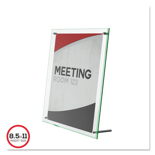 deflecto® Superior Image Beveled Edge Sign Holder, Letter Insert, Clear/Green-Tinted Edges