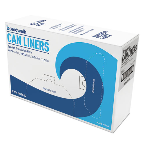 High-Density Can Liner, 40x46, 40- 45gal, 10mic, Natural, 25/Roll, 10 Rolls/CT