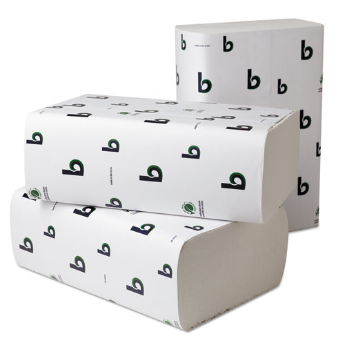 Boardwalk Green Plus Multifold Towels, 9 1/8x9 1/2, White, 250/Pk, 16 Pks/Carton